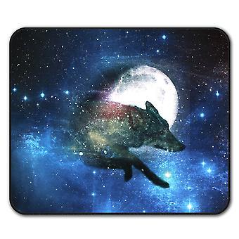 Mond Tier Wolf Tier Anti-Rutsch-Mauspad Pad 24 x 20 cm | Wellcoda