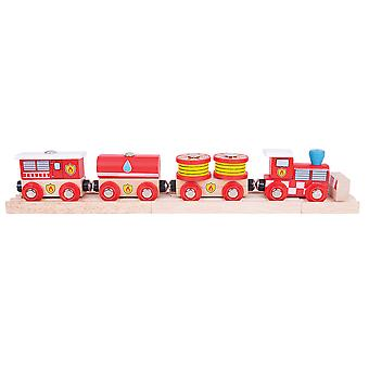 Bigjigs Rail Wooden Fire and Rescue Train Engine Locomotive Carriage Railway