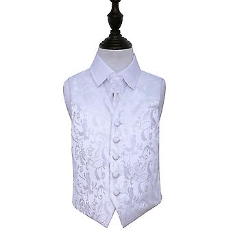 White Floral Wedding Waistcoat & Cravat Set for Boys