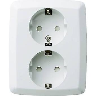 GAO 0302 2 x Flush-mount socket kindveiligheid crème-wit