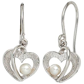 Pearl Heart 925 earrings sterling silver part of ice Matt 2 freshwater pearl earrings Pearl Earrings