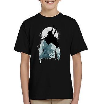Wilde Wunder Witcher Berg Mond Silhouette Kinder T-Shirt