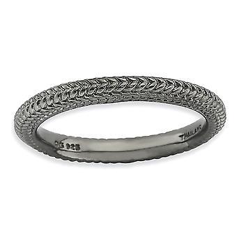 2,5 mm 925 Sterling Silber poliert gemusterte Gemusterte Domed Band Ruthenium Beschichtung stapelbare Ausdrücke schwarz plattiert Domed Ring