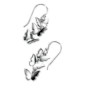 Elementos pendientes de plata mariposa Triple - plata