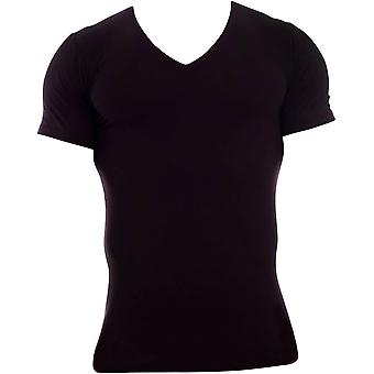 Obviously Essence Deep V-Neck Short Sleeve Undershirt - Black
