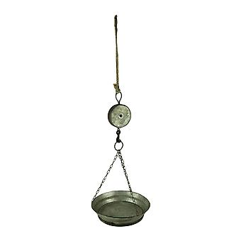 Rustic Farmhouse Metal Hanging Tray and Decorative Pulley Hook