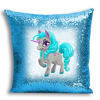 i-Tronixs - Unicorn Printed Design Blue Sequin Cushion / Pillow Cover with Inserted Pillow for Home Decor - 17