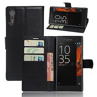 Sony Xperia XZs/XZ Litchi graan Wallet Case-zwart