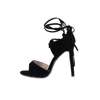 Lovemystyle Suede cheville lacet talons sandales en noir