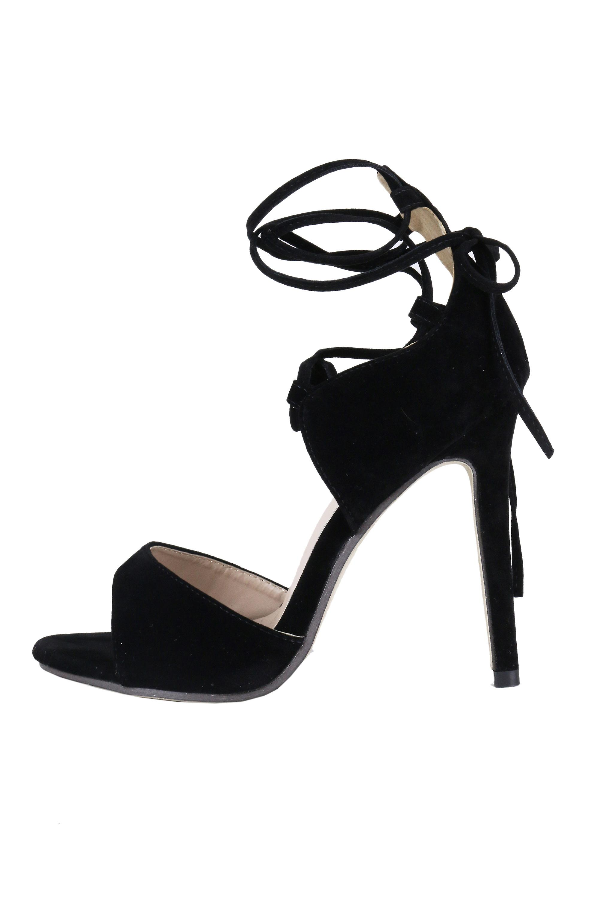 Lovemystyle Suede Ankle Lace Heeled Sandals In Black