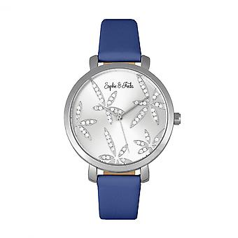 Sophie & Freda Key West Leather-Band Watch w/Swarovski Crystals - Silver/Blue
