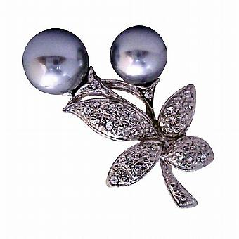 立方ジルコン グレーのど真珠芽花ファッション ブローチ ピン