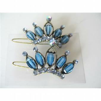 Pair Of Hair Clip Sophisticated Blue Crown w/ Crystals Sparkling Clip