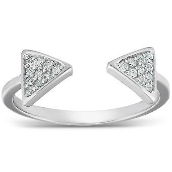 1 / 5ct diamant Ring öppen triangel mode högra Hand Split bandet vitguld