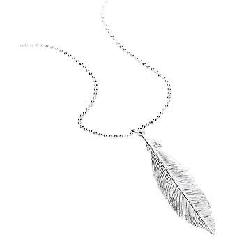 Bella Single Feather Drop Pendant - Silver