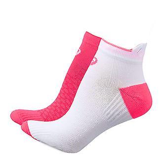 ASICS Womens Ladies imbottite in esecuzione Fitness calzino PED (2 Pack) bianco/rosa