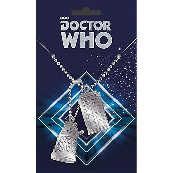 Doctor Who Dog Tag Tardis & Dalek silberfarben, aus Metall, zwei Anhänger.