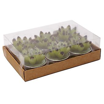Cac-T-Lite Open Leaf Cactus Tea Lights, Set of 6