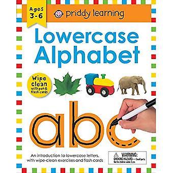 Rensa ren arbets bok: gemener alfabetet (sluten spiral bindning): åldrar 3-6; med Pen & Flash cards (torka ren läro böcker)