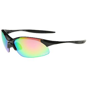 Olympus - Two-Toned Half-Frame Iridescent Lens TR-90 Sports Wrap Sunglasses 68mm