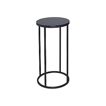 Gillmore Black Glass And Black Metal Contemporary Circular Lamp Table