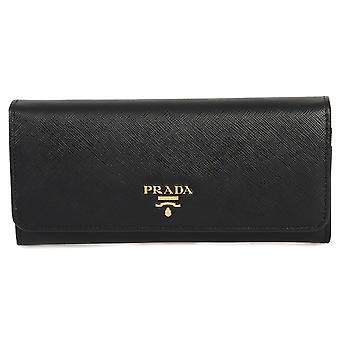 Prada sort Saffiano læder flap tegnebog 1MH132 QWA F0002