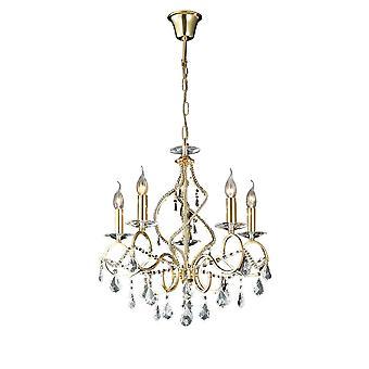 Diyas Torino Pendant 5 Light French Gold/Crystal