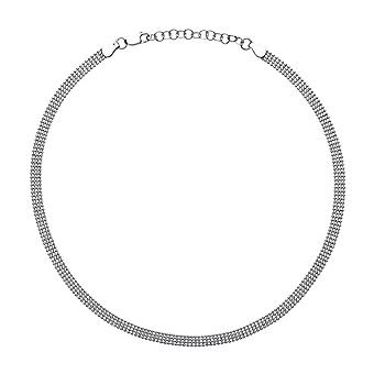 Jewelco London Ladies Rhodium Plated Sterling Silver 4 Row Bead Cage Choker Collarette Necklace 5mm 14.5-16.5