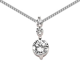 Jewelco London Rhodium Plated Sterling Silver Round Brilliant Cubic Zirconia Trilogy Drop Pendant Necklace 18 inch