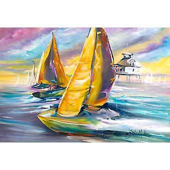 Sailboat with Middle Bay Lighthouse Fabric Placemat