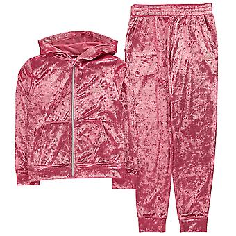 LA Gear Girls Velvour Tracksuit Junior Sports Training Bottoms Pants Top Kids