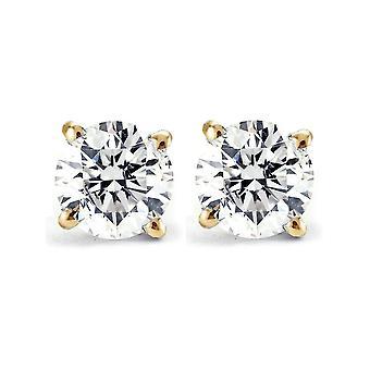 3/4ct Diamond Studs 14K Yellow Gold IGI Certified