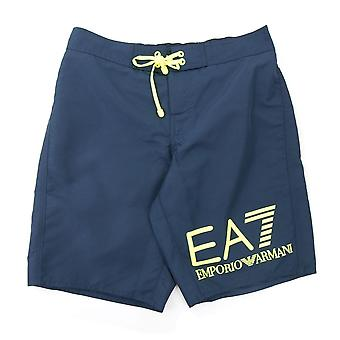 EA7 Neon Yellow Logo Swim Shorts Navy Blue
