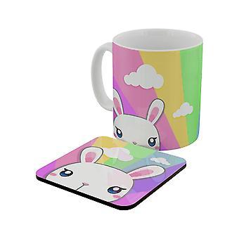 Inquisitive Creatures Kawaii Bunny Rainbow Mug & Coaster Set