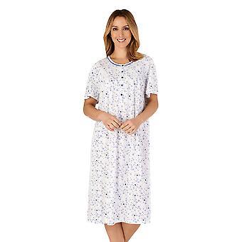 Slenderella ND4100 kvinnor ' s Jersey blommig bomull nattlinne
