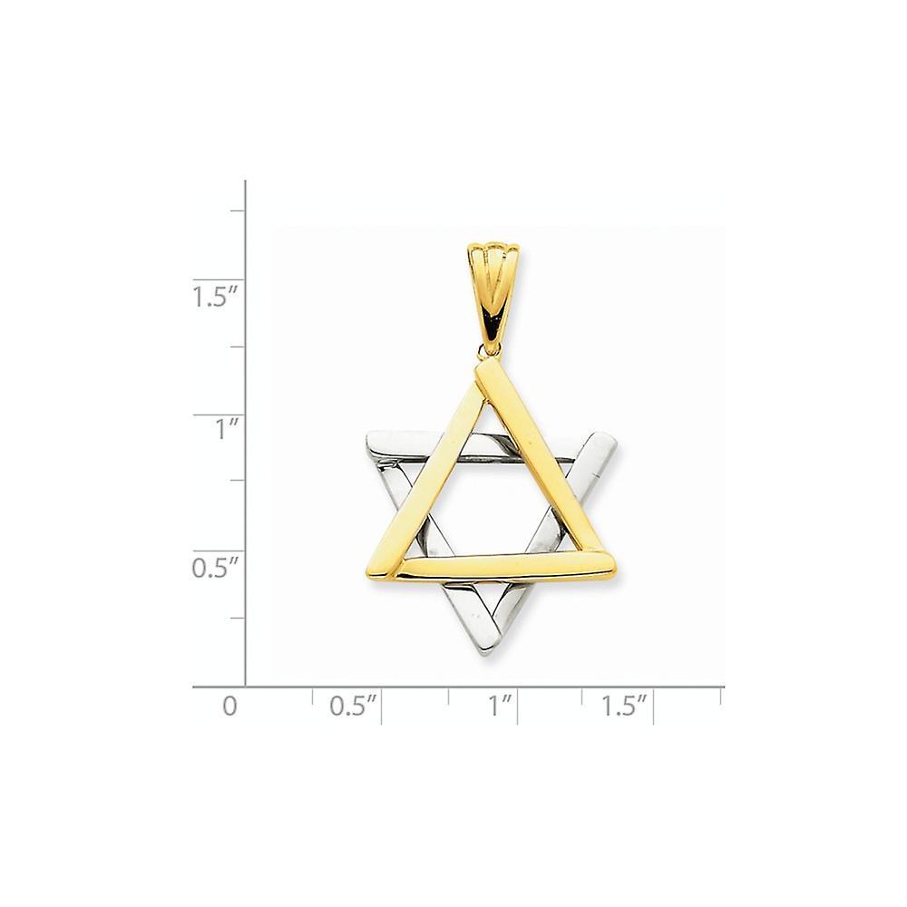14 k zwei Ton solide poliert Gold religiöse Judaica Stern von David Anhänger Halskette Maßnahmen 27x24mm Schmuck Geschenke für Wom