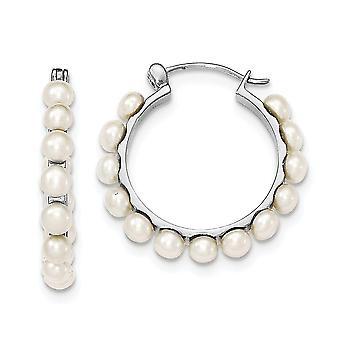 925 sterling sølv 4-5mm hvid ferskvand kulturperler perle Hoop Earringss