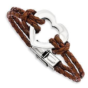 Pliegue de acero inoxidable sobre el corazón del amor pulido 7.5inch pulsera de cuero regalos de joyería para las mujeres