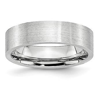 Kobolt krom platt Band Engravable Satin 6mm Band Ring - Ring storlek: 7-13