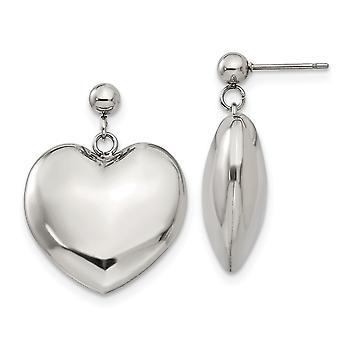 Edelstahl Post Ohrringe poliert Puff Liebe Herz Post lange Tropfen Baumseider Ohrringe Schmuck Geschenke für Frauen