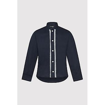 Camisa abotonada de manga larga con costuras en contraste en azul marino (2-12 años)