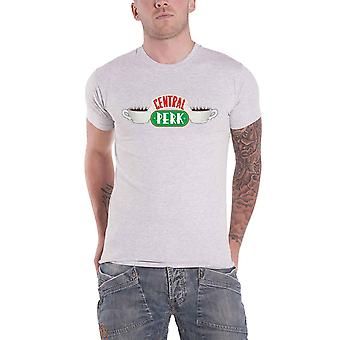 Friends T Shirt Central Perk TV Show Logo new Official Mens Grey Roll Sleeve