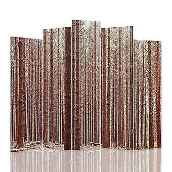 Dekorativa rumsavdelare, 5 paneler, dubbelsidig, 360 ° vridbar canvas, lärk skog