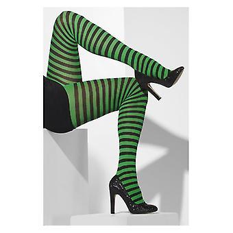 Γυναικεία μαύρο & πράσινο ριγέ αδιαφανές καλσόν φανταχτερό φόρεμα αξεσουάρ