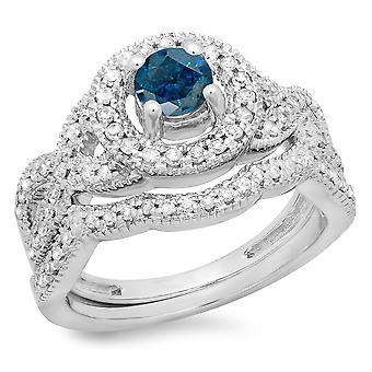 Dazzlingrock collectie 1,00 karaat (CTW) 14K Blue & White Diamond Bridal Halo Verlovings ring set 1 CT, witgoud