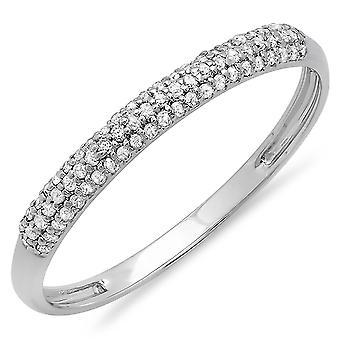 Dazzlingrock collectie 0,20 karaat (CTW) 18k ronde Diamond dames Bridal Wedding stapelbare band 1/5 CT, wit goud