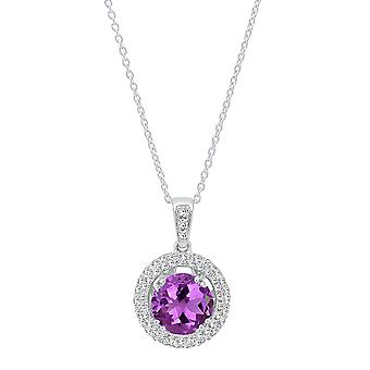 Dazzlingrock Collection 14K 6 MM Round Cut Amethyst & White Diamond Ladies Double Halo Pendant, White Gold