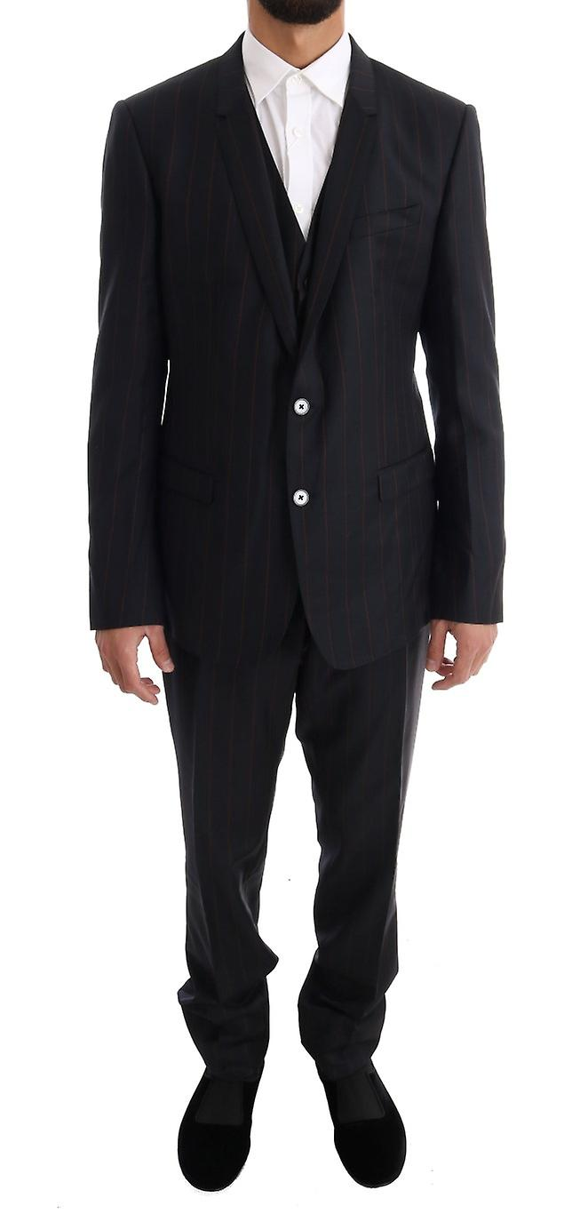 Blue Striped Single Breasted 3 Piece Suit