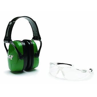 Howard Leight volwassen schieten combo earmuffs, groene & bril, duidelijk #R-01761