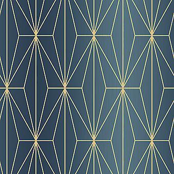 Kayla Metallic geometrische Tapete blau / Bronze Muriva 703016